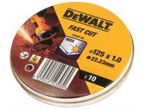 Řezné kotouče DeWALT DT3507 - 125mm/1,0mm na železo, kov a nerez - 10ks, v plechovém boxu