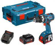 Bosch GSB 18 V-EC Professional - 2x 18V/2.0Ah, 50Nm, 2 rychl., 1.7kg, kufr, bezuhl. aku vrtačka s příkl.