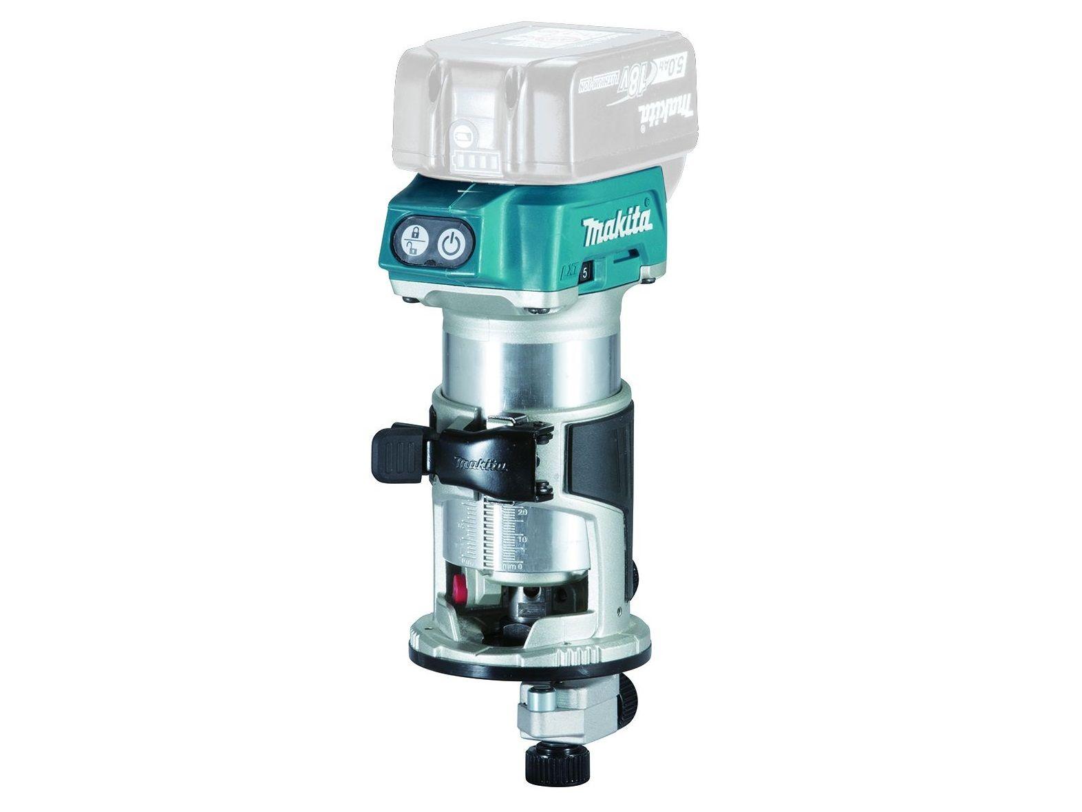 Bezuhlíková aku kombinovaná frézka Makita DRT50Z - 18V, 6/8mm, 1.8kg, bez akumulátoru a nabíječky