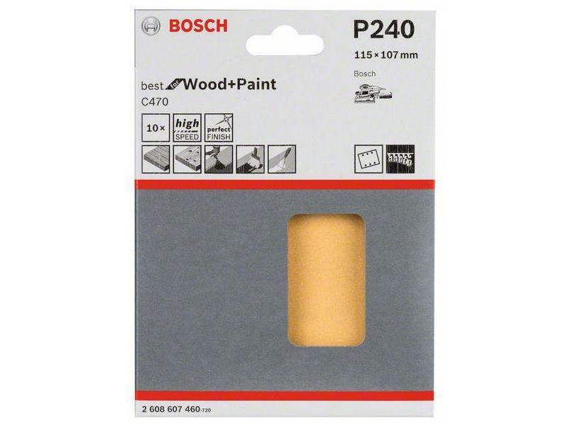 10x Brusný papír do vibrační brusky Bosch C470, 115x107mm, zr.240, 6 otvorů (2608607460) Bosch příslušenství