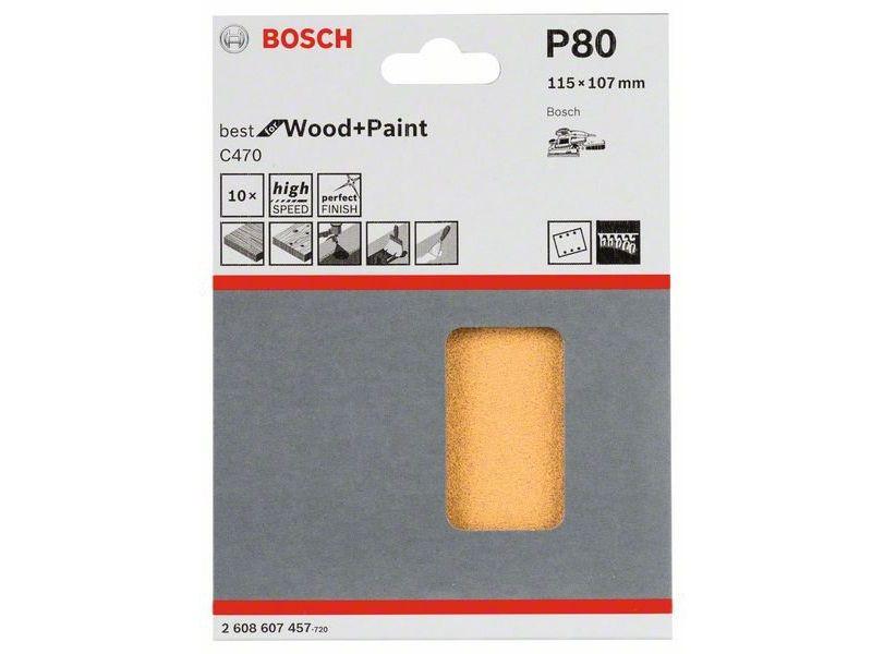 10x Brusný papír do vibrační brusky Bosch C470, 115x107mm, zr.80, 6 otvorů (2608607457) Bosch příslušenství
