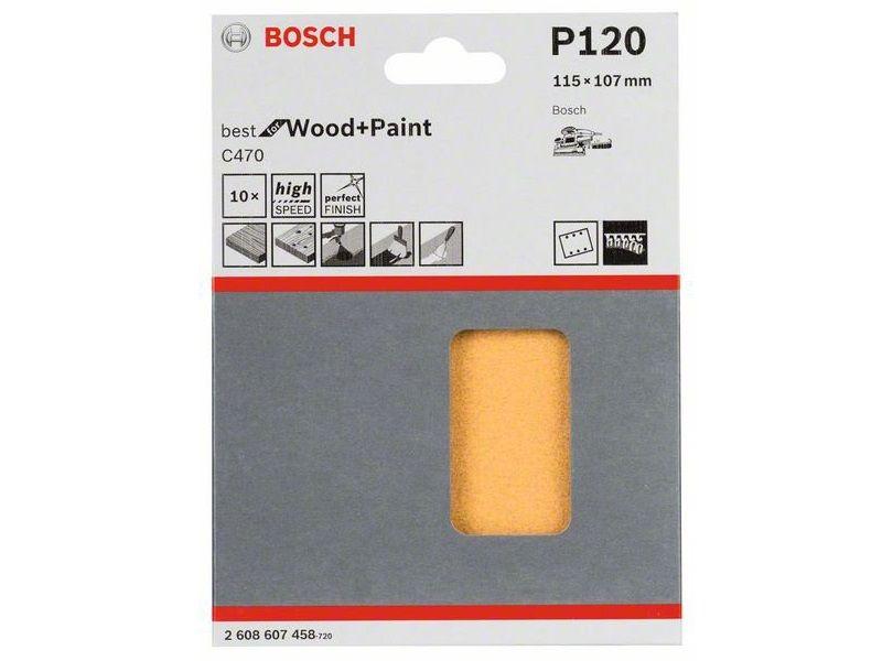 10x Brusný papír do vibrační brusky Bosch C470, 115x107mm, zr.120, 6 otvorů (2608607458) Bosch příslušenství