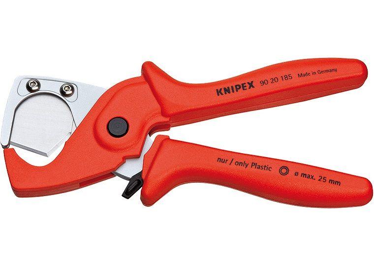 KNIPEX kleště na řezání trubek - 185mm, do Ø 25mm vnějšího průměru, pro tenkostěnné plastové trubky (9020185)