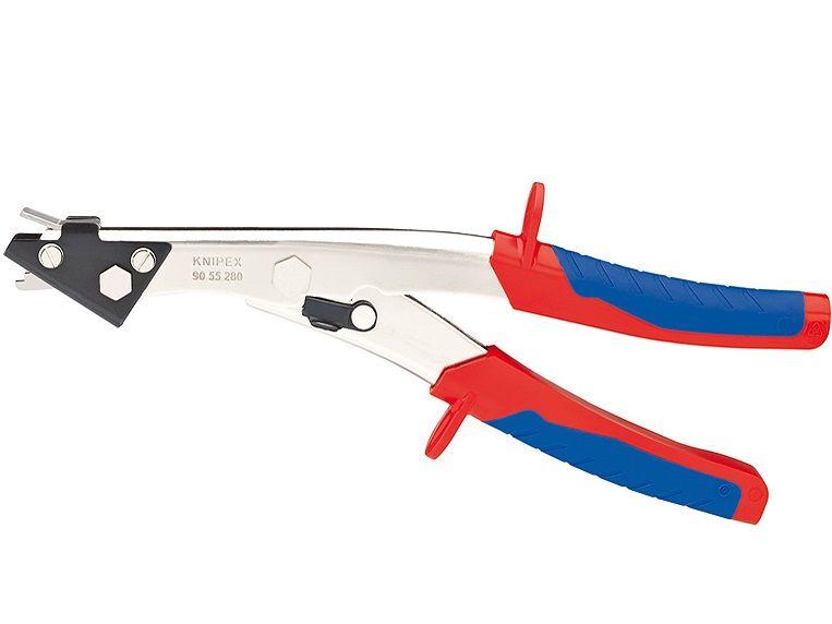 KNIPEX nůžky na plech - 280mm, na plech do 1.2mm, plast 2mm, poniklované, vícesložkové rukojeti (9055280)