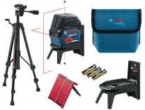 Bosch GCL 2-15 Professional + RM 1 + stativ Bosch BT 150 Professional - 3x AA, křížový laser