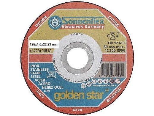 Řezný kotouč Goldenstar 41 AS 46 Q BF 80 - 125 x 1,6 x 22,23 mm na ocel a nerez Sonnenflex