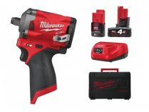 """Milwaukee M12 FIWF12-422X - 2x 12V/4.0Ah, 1/2"""", 339Nm, 1.1kg, kufr, bezuhlíkový aku rázový utahovák"""