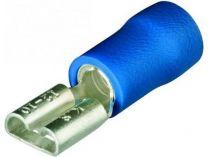 Kabelové ploché koncovky, Knipex - dutinka nástrčná 6.3x0.8mm², izolovaná - modrá, 100ks
