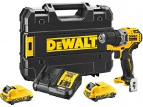DeWALT DCD701D2-QW - 2x 12V/2.0Ah, 57.5Nm, 0.9kg, kufr, bezuhl. aku vrtačka bez příklepu