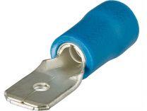 Kabelové ploché konektory, Knipex - zástrčka plochá 6.3x0.8mm², isolovaná, modrá, 100ks