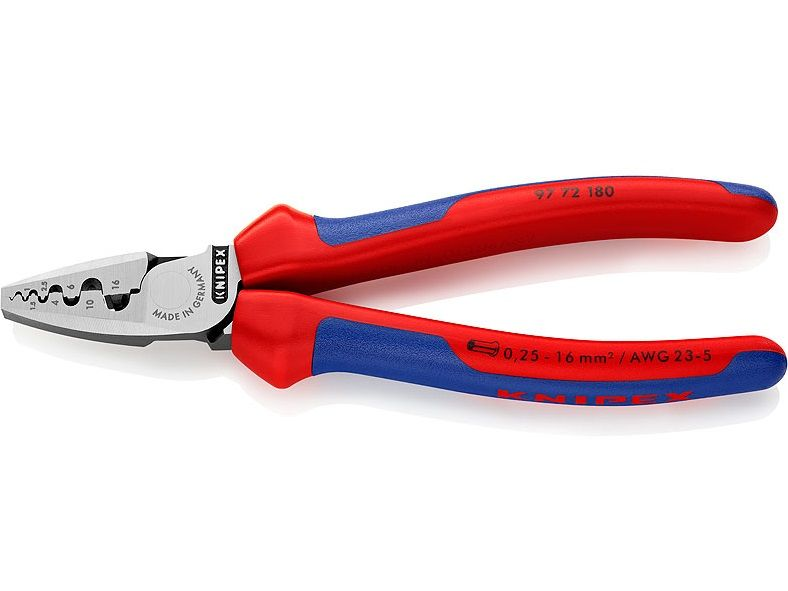 KNIPEX - kleště lisovací - 180mm - na dutinky podle DIN 46228, část 1+4, 0.25-16mm², dvousložkové rukojeti (9771180)