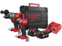 Sada aku nářadí Milwaukee M18 FPP2A2-502X: M18 FPD2-0 + M18 FID2-0 + 2x aku 18V/5.0Ah + kufr