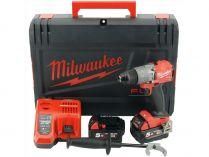 Milwaukee M18 FDD2-502X - 2x 18V/5.0Ah, 135Nm, 2 rychl., kufr, dárek, aku vrtačka bez příklepu
