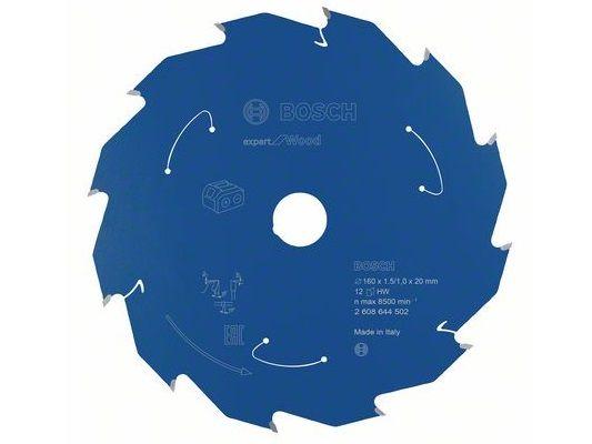 Pilový kotouč na dřevo Bosch Expert for Wood pro okružní pily a aku pily - 160 x 20 mm, 12 zubů (2608644502) Bosch příslušenství