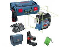 Křížový laser Bosch GLL 3-80 CG Professional - 1x 12V/2.0Ah + držák BM 1, kufr L-Boxx