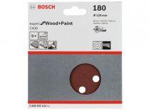 5x Brusný papír do excentrické brusky Bosch C430 - 125mm, zr.180, 8 otvorů, suchý zip
