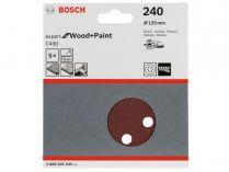 5x Brusný papír do excentrické brusky Bosch C430 - 125mm, zr.240, 8 otvorů, suchý zip