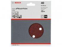 5x Brusný papír do excentrické brusky Bosch C430 - 150mm, zr.40, 6 otvorů, suchý zip