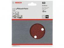 5x Brusný kotouč do excentrické brusky Bosch C430 - 150mm, zr.60, 6 otvorů, suchý zip