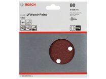 5x Brusný papír do excentrické brusky Bosch C430 - 150mm, zr.80, 6 otvorů, suchý zip