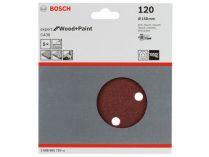 5x Brusný kotouč do excentrické brusky Bosch C430 - 150mm, zr.120, 6 otvorů, suchý zip