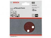 5x Brusný papír do excentrické brusky Bosch C430 - 125mm, zr.40, 8 otvorů, suchý zip