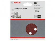 5x Brusný papír do excentrické brusky Bosch C430 - 125mm, zr.80, 8 otvorů, suchý zip