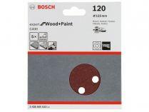 5x Brusný papír do excentrické brusky Bosch C430 - 125mm, zr.120, 8 otvorů, suchý zip