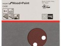 5x Brusný papír do excentrické brusky Bosch C430 - 115mm, zr.240, 8 otvorů, suchý zip