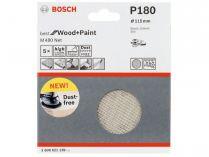5x Brusná mřížka do excentrické brusky Bosch M480 - 115mm, zr.180, suchý zip