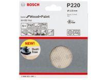 5x Brusná mřížka do excentrické brusky Bosch M480 - 115mm, zr.220, suchý zip