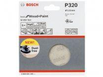 5x Brusná mřížka do excentrické brusky Bosch M480 - 115mm, zr.320, suchý zip