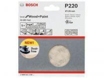 5x Brusná mřížka do excentrické brusky Bosch M480 - 125mm, zr.220, suchý zip
