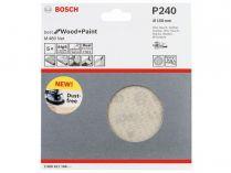 5x Brusná mřížka do excentrické brusky Bosch M480 - 150mm, zr.240, suchý zip