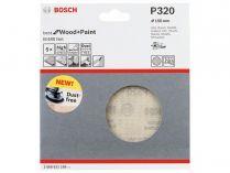5x Brusná mřížka do excentrické brusky Bosch M480 - 150mm, zr.320, suchý zip