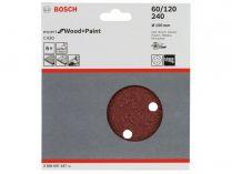 6x Brusný papír do excentrické brusky Bosch C430 - 150mm, zr.60/120/240, 6 otvorů, suchý zip