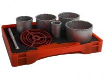 Sada vykružovacích karbidových korunek Magg 33,53,67,73,83mm + středící vrták + adaptér