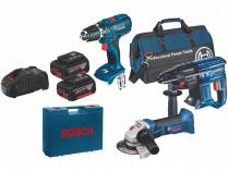 Sada aku nářadí Bosch GSR 18-2-LI Plus + GBH 180-LI + GWS 18-125 V-LI + 2x aku 18V/4Ah + taška