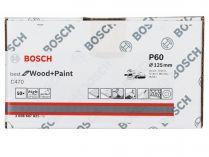 50x Brusný papír do excentrické brusky Bosch C470 - 125mm, zr.60, 8 otvorů