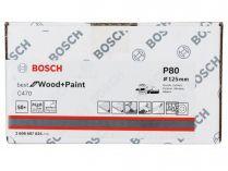 50x Brusný papír do excentrické brusky Bosch C470 - 125mm, zr.80, 8 otvorů