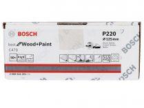 50x Brusný papír do excentrické brusky Bosch C470 - 125mm, zr.220, 8 otvorů