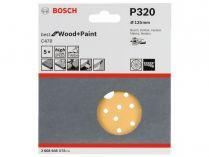 5x Brusný papír do excentrické brusky Bosch C470 - 125mm, zr.320, 40 otvorů