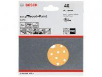5x Brusný papír do excentrické brusky Bosch C470 - 125mm, zr.40, 40 otvorů