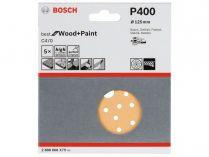 5x Brusný papír do excentrické brusky Bosch C470 - 125mm, zr.400, 40 otvorů