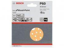 5x Brusný papír do excentrické brusky Bosch C470 - 125mm, zr.60, 40 otvorů