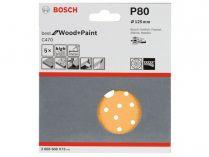 5x Brusný papír do excentrické brusky Bosch C470 - 125mm, zr.80, 40 otvorů