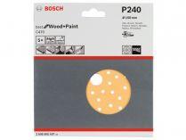 5x Brusný papír do excentrické brusky Bosch C470 - 150mm, zr.240, 56 otvorů