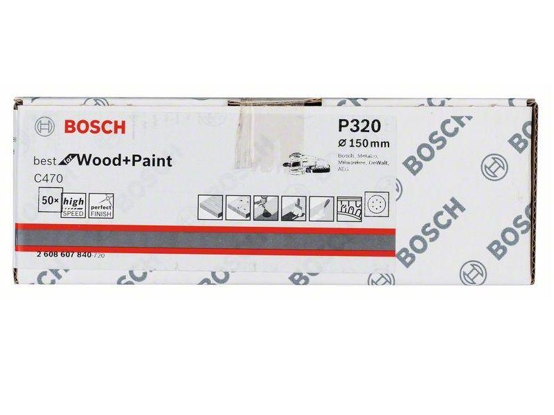 50x Brusný kotouč do excentrické brusky Bosch C470 - 150mm, zr.320, 6 otvorů (2608607840) Bosch příslušenství