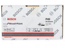 50x Brusný papír do excentrické brusky Bosch C470 - 125mm, zr.40, 40 otvorů