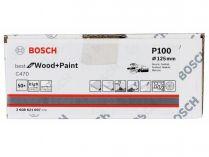 50x Brusný papír do excentrické brusky Bosch C470 - 125mm, zr.100, 40 otvorů